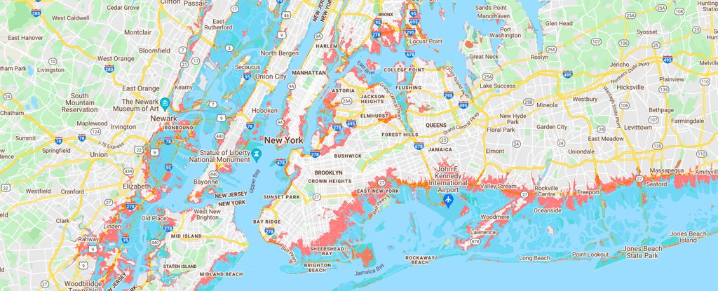 Long-term sea level outcomes at New York City.