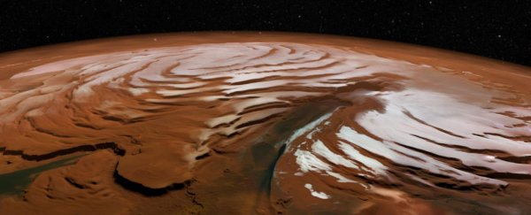 We have first-ever evidence that Mars gets intense snowstorms in the dead of night