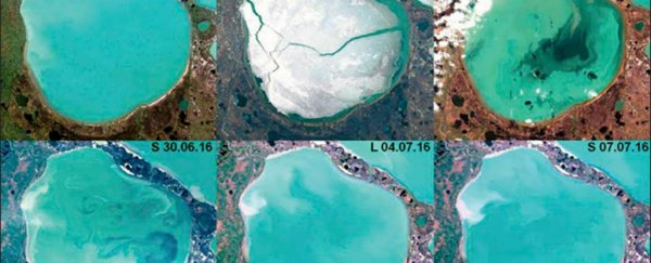 Photos reveal more than 200 bright blue Arctic lakes have started bubbling with methane gas
