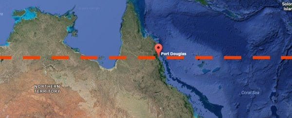 Most of the Great Barrier Reef above this line is now dead