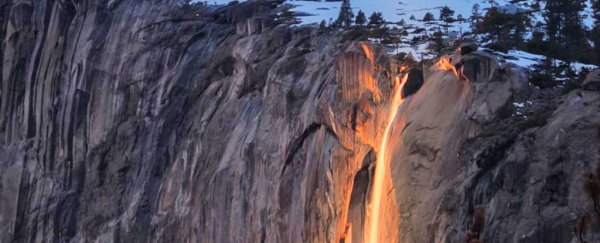 An incredible 'Firefall' is lighting up Yosemite right now