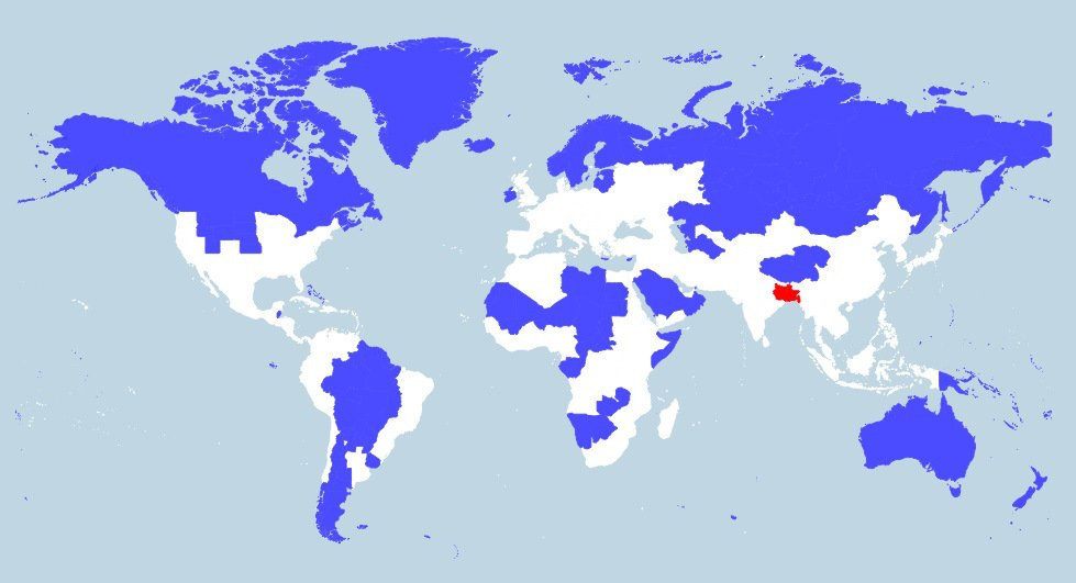 The red and blue sections of this map each contain 5 of the worlds population density gumiabroncs Image collections