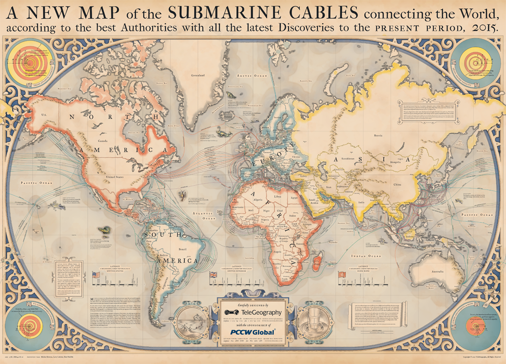 The Internet's underwater cables  (Credit: TeleGeography)